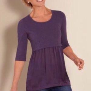 Soft Surroundings Odette Purple Satin Blouse